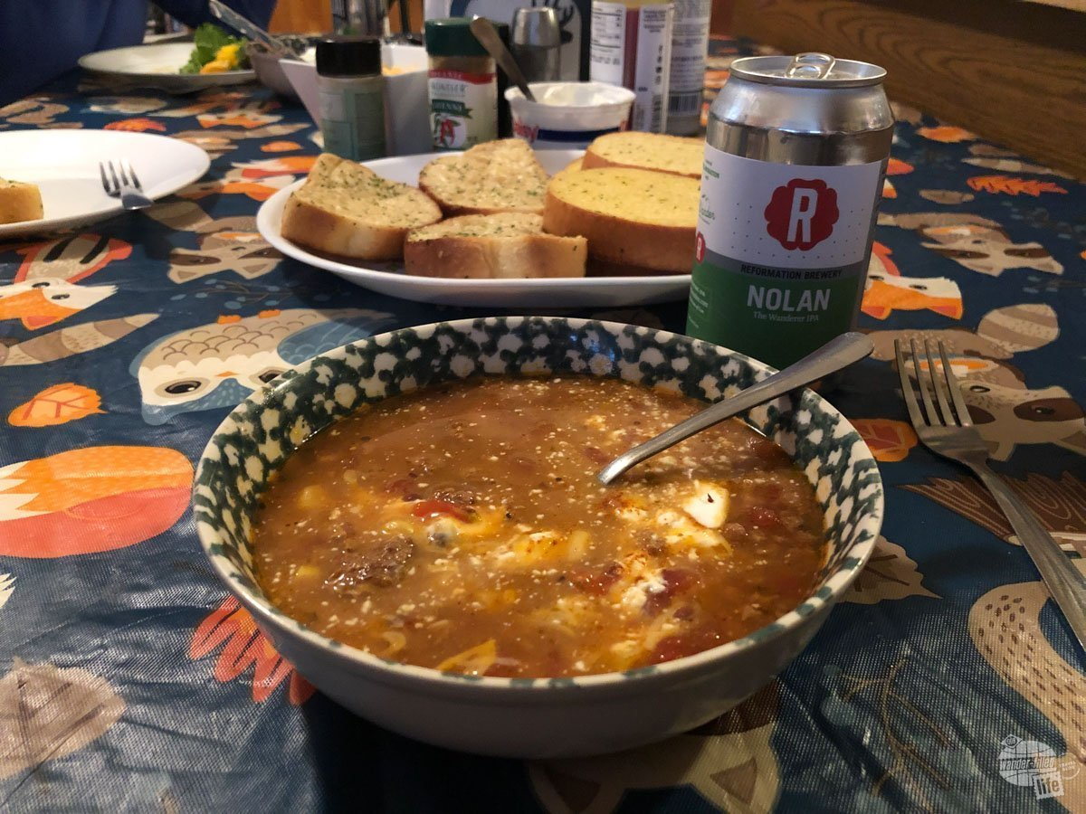 Elk chili with a Nolan the Wanderer... mmm!