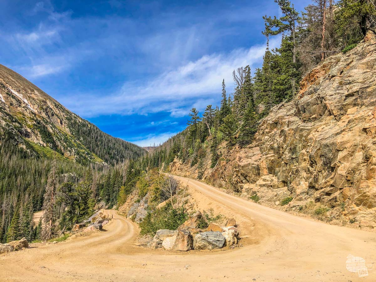 The unpaved Fall River Road in Rocky Mountain National Park.
