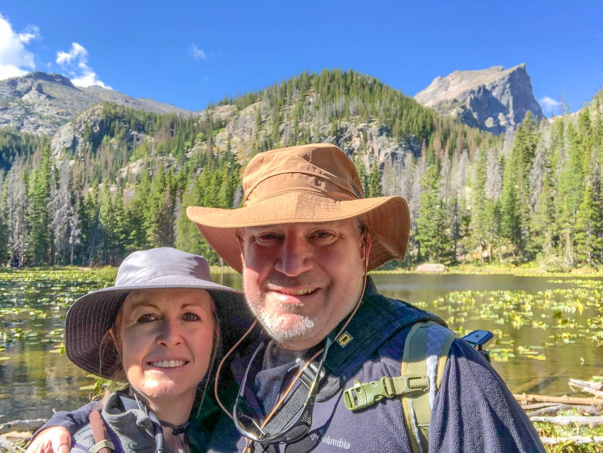 Grant and Bonnie take a quick selfie at Nymph Lake in Rocky Mountain NP.