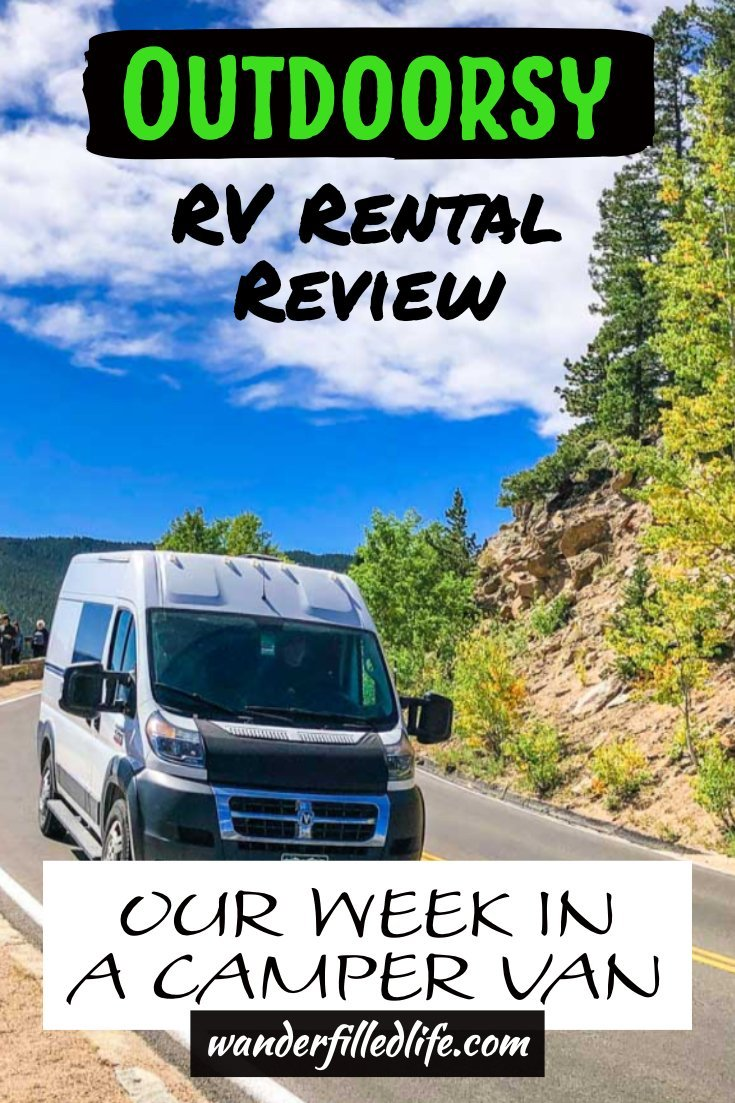 Our full review of an Outdoorsy RV rental from booking our camper van to pick up and dropoff and the various costs and fees.