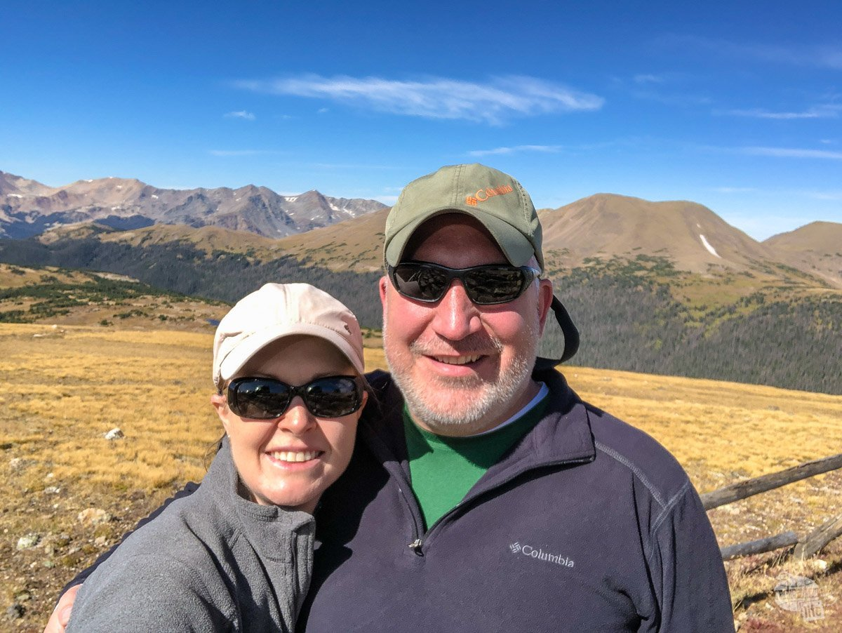Grant and Bonnie Sinclair taking a selfie on Trail Ridge Road in Rocky Mountain National Park.