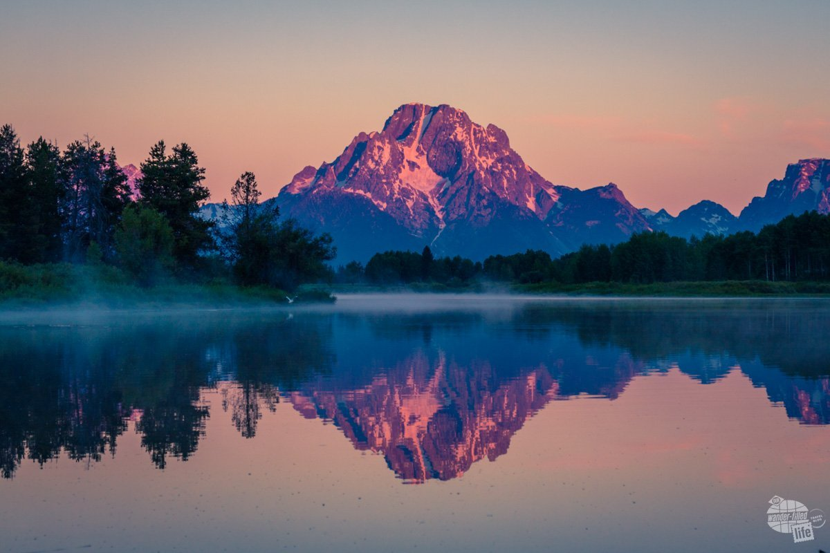 Mt. Moran at sunrise in Grand Teton National Park.