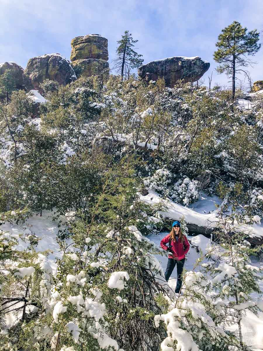 Bonnie hiking in the snow in Chiricahua National Monument.