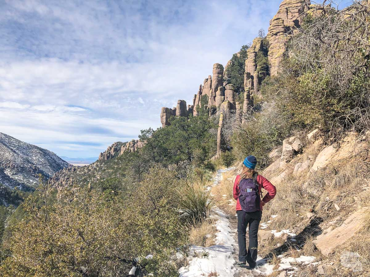 Bonnie on the trail in Sarah Demming Canyon  in Chiricahua National Monument.
