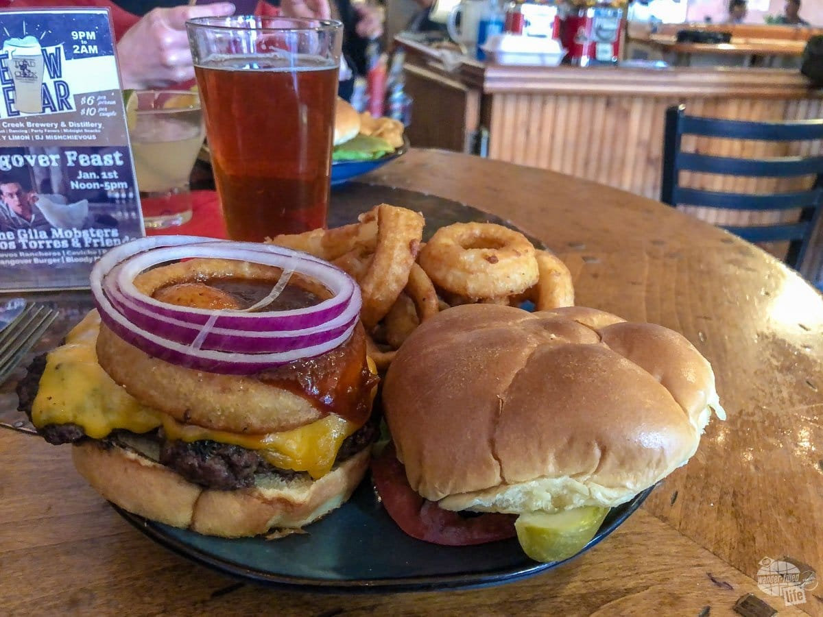 Burgers and beer at Little Toad Creek Brewery and Distillery.