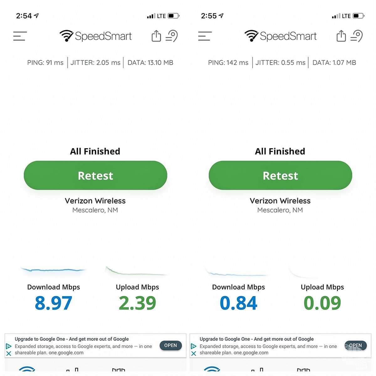 The image on the left is a screen shot of a speed test with the cell phone booster on. the one on the right is after Grant turned it off. The difference is pretty staggering.