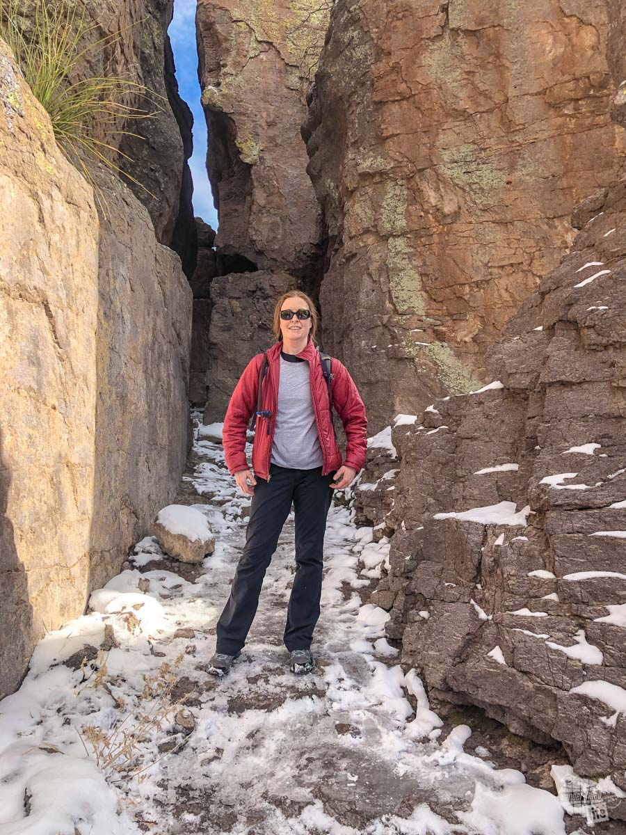 Bonnie hiking in cold weather in Chiricahua National Monument.
