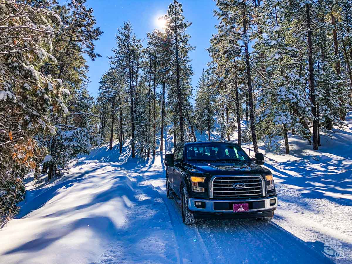 Our F150 on the snow-covered roads to Gila Cliff Dwellings National Monument.
