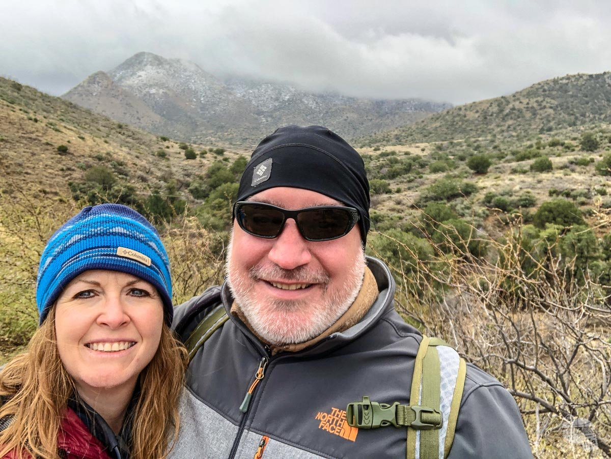 Grant and Bonnie hiking the trail to Fort Bowie NHS.