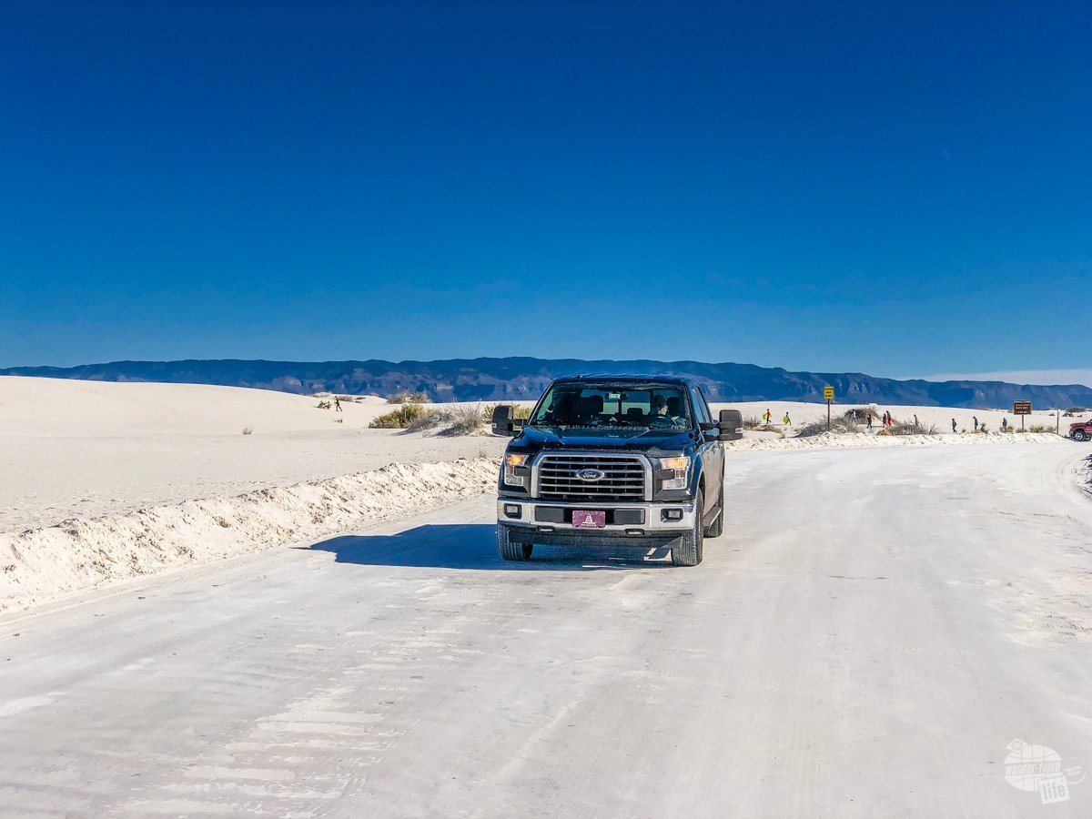 Driving the sand road.