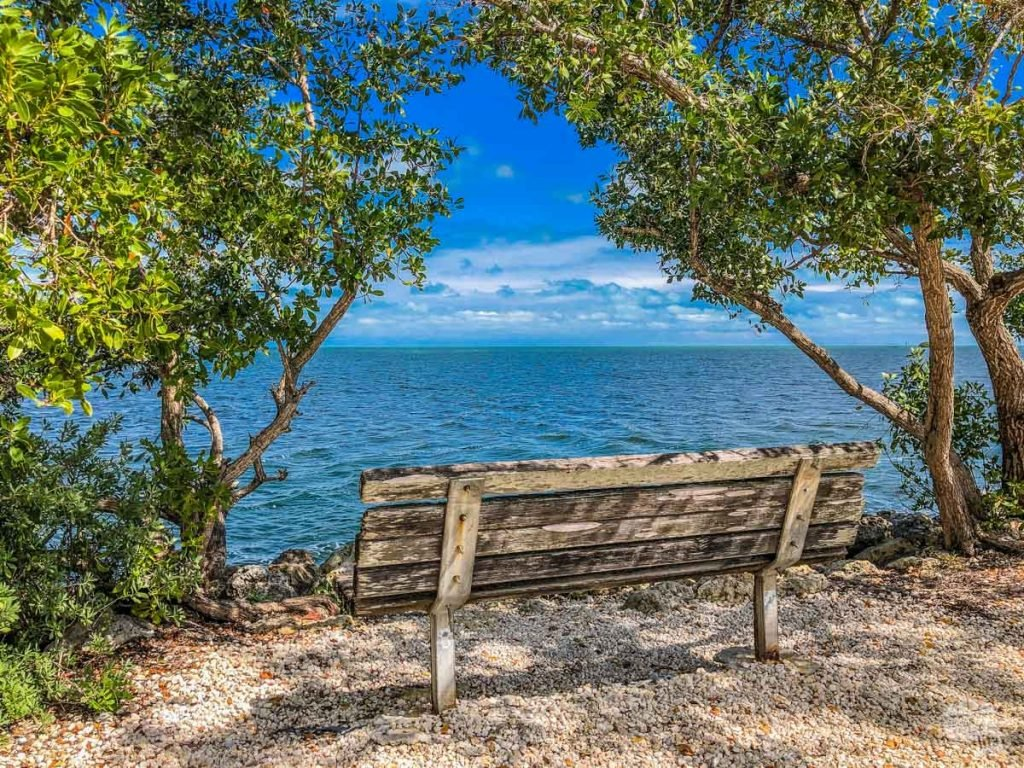 A bench overlooking Biscayne Bay along the nature trail by the Visitor Center at Biscayne National Park.