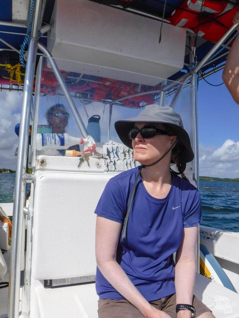 Bonnie on the boat during one of our Biscayne National Park tours.