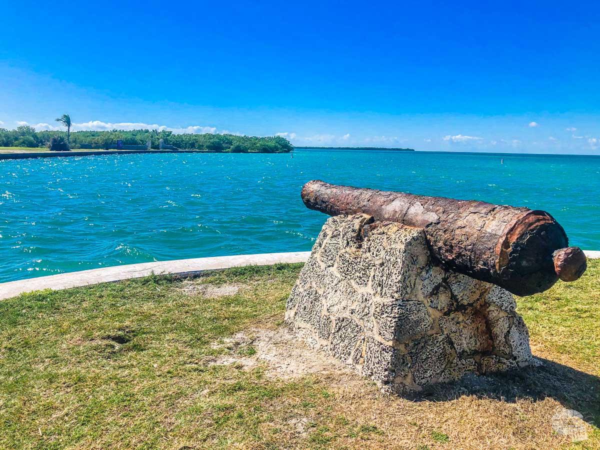 The cannon on Boca Chita Key.