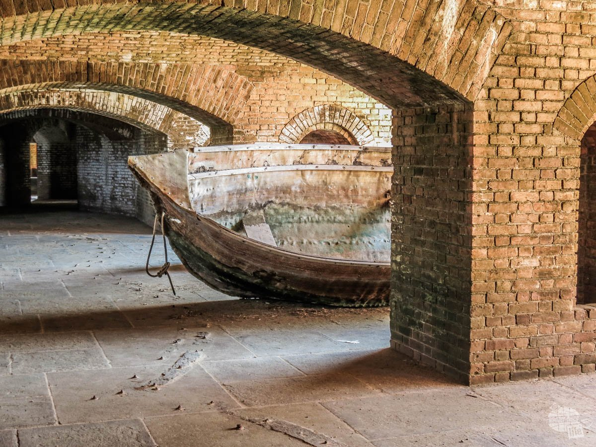 A small boat stored among the walls of Fort Jefferson.