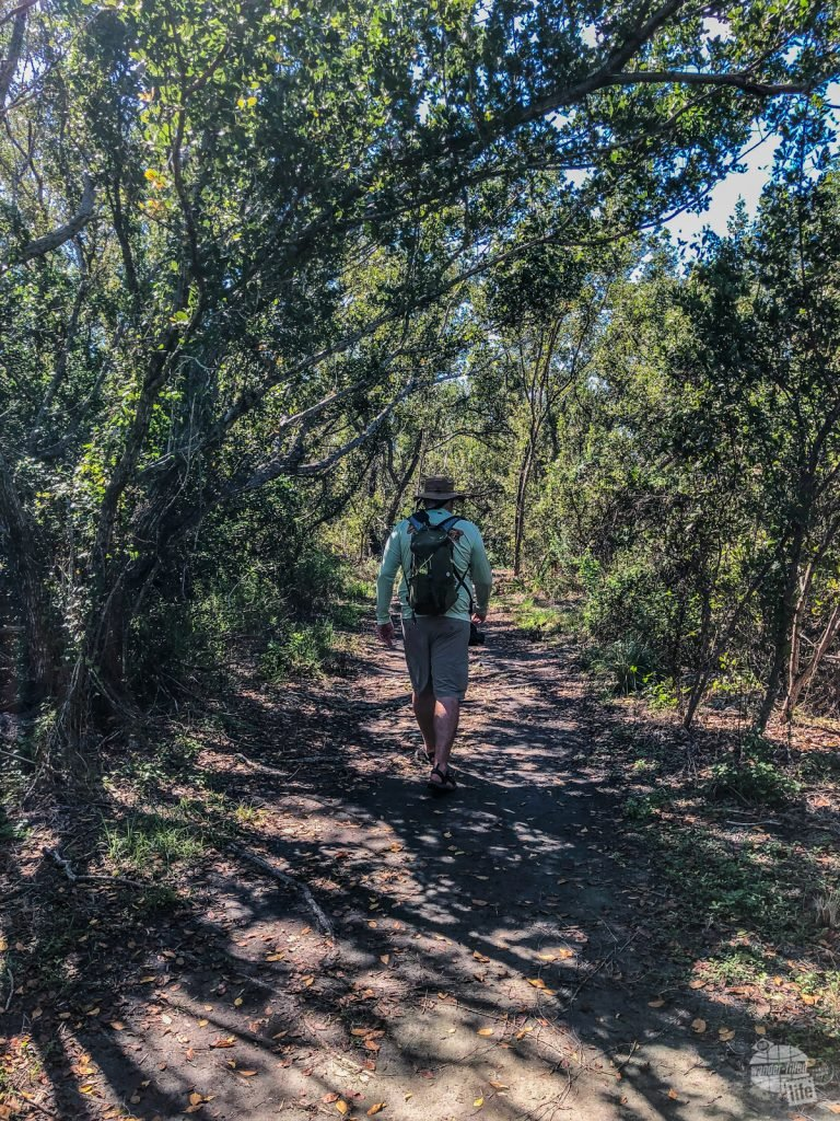 Grant walking the nature trail on Boca Chita Key.