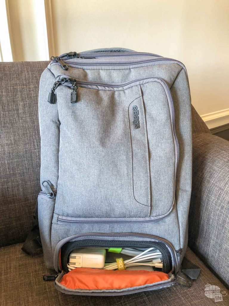 The bottom compartment on the eBags Profession Slim Laptop Backpack is perfect for chargers and accessories.