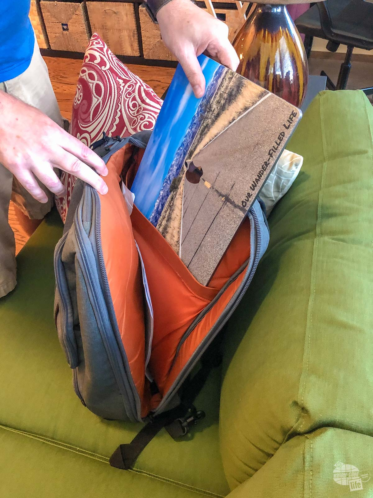 Inside the eBags Professional Slim Laptop Backpack.