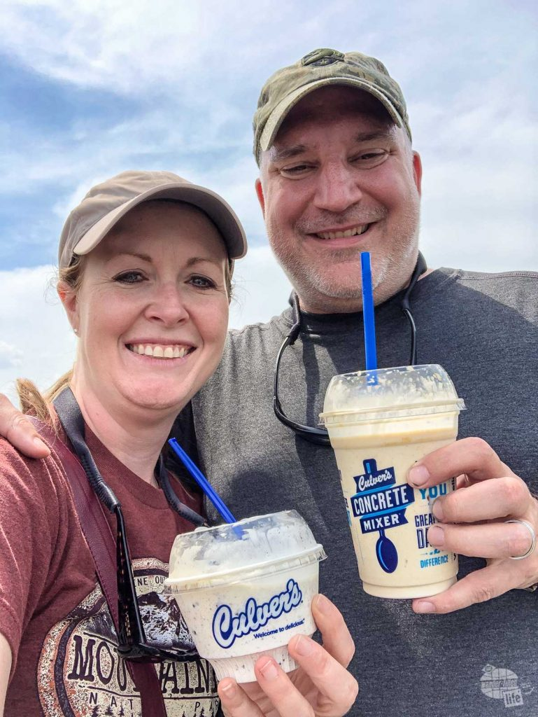 Grabbing a Culver's Custard to make up for missing out on 10 days of our trip.