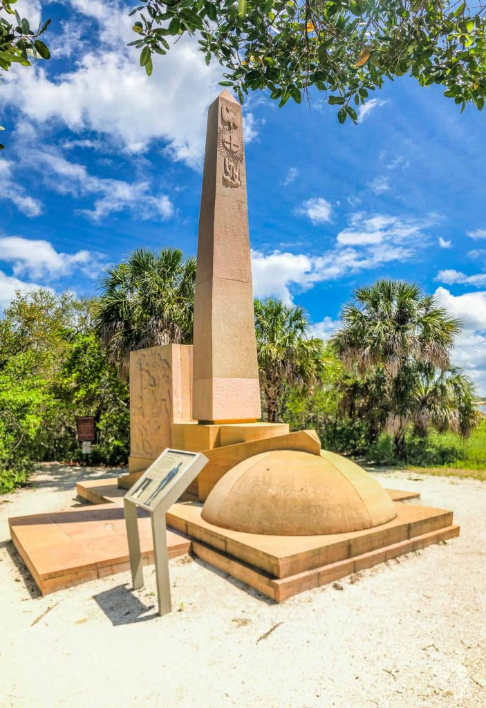 A picture of a monument in Desoto National Memorial using Panorama Mode to capture more of the view.
