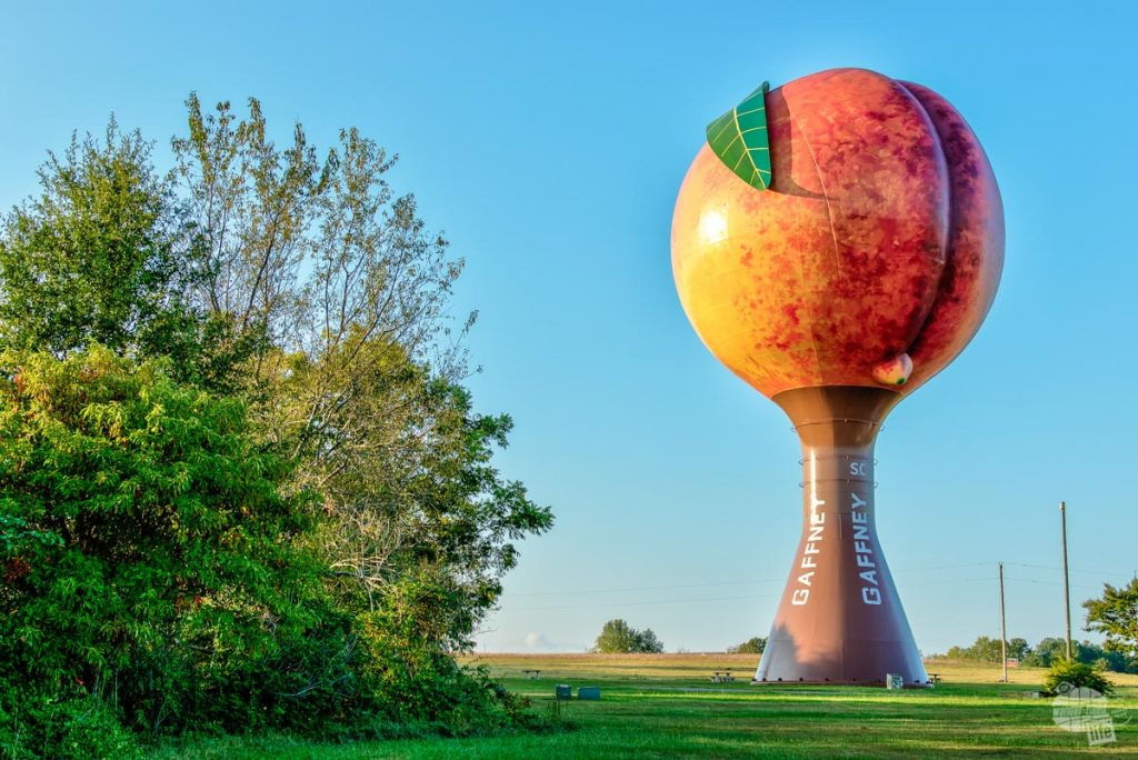 The giant Peach along the interstate in Gaffney, SC.