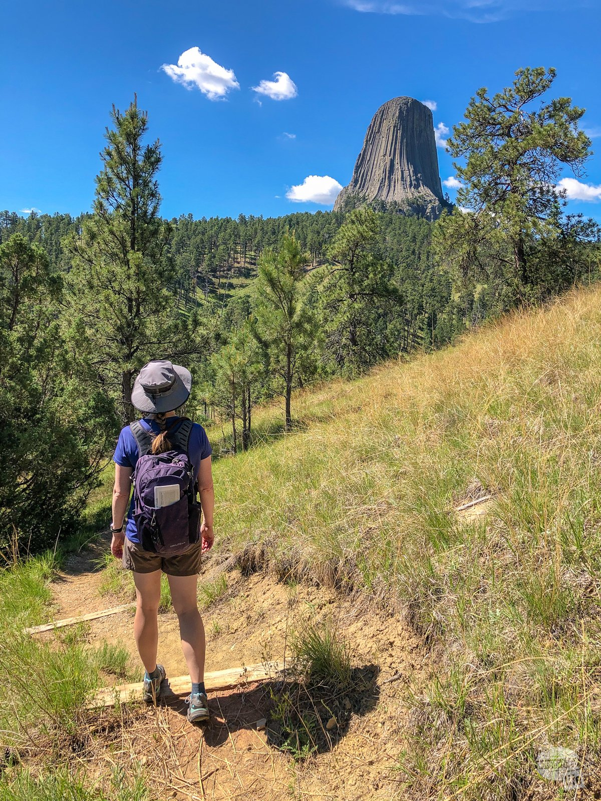 Bonnie stopping to look at Devils Tower on the Joyner Ridge Trail.