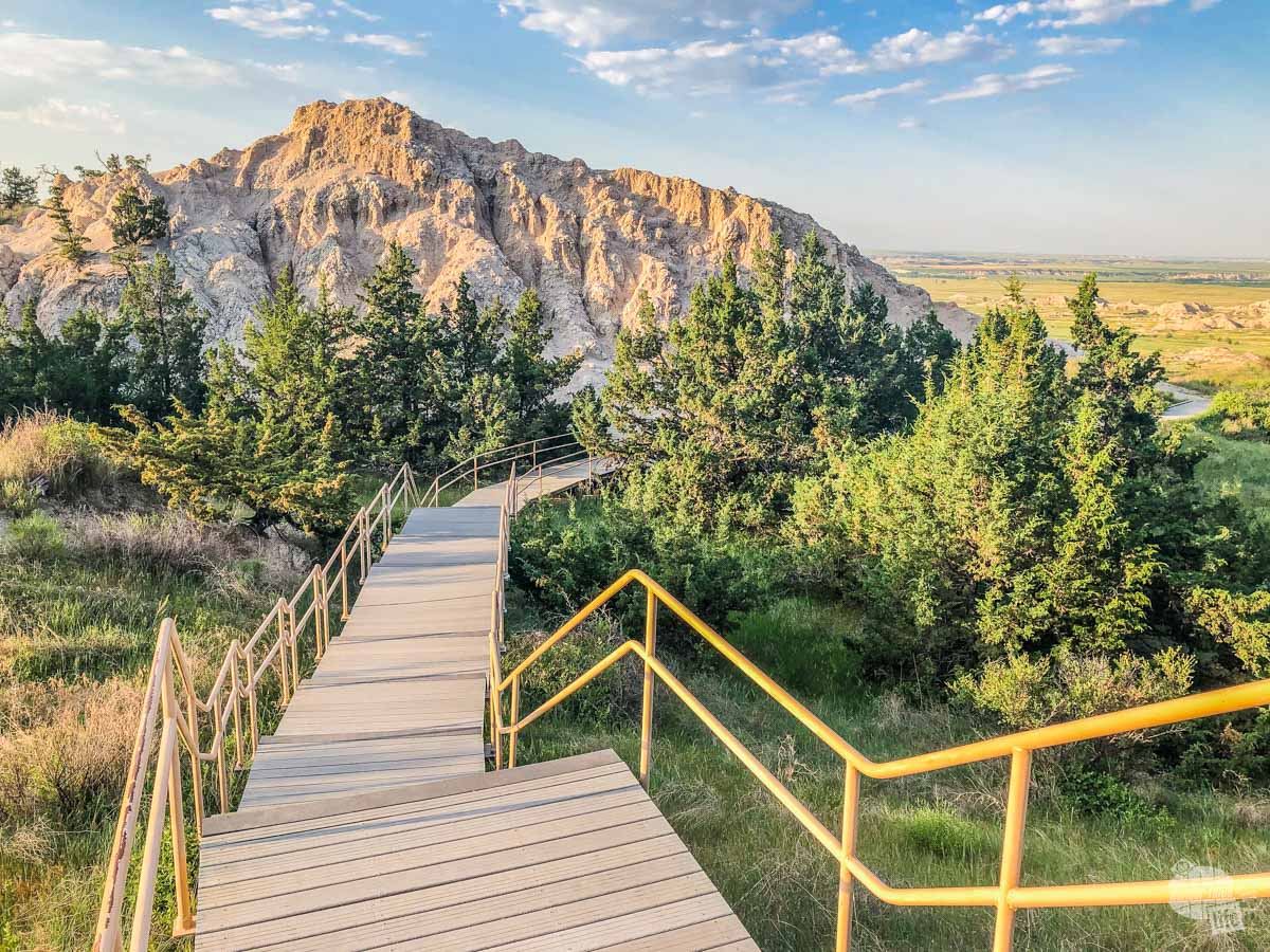Stairs on the Cliff Shelf Nature Trail in Badlands National Park. This is one of the easier spots for hiking in  Badlands National Park.