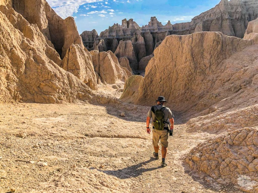 A hike in Badlands NP is a great way to see the formations up close.