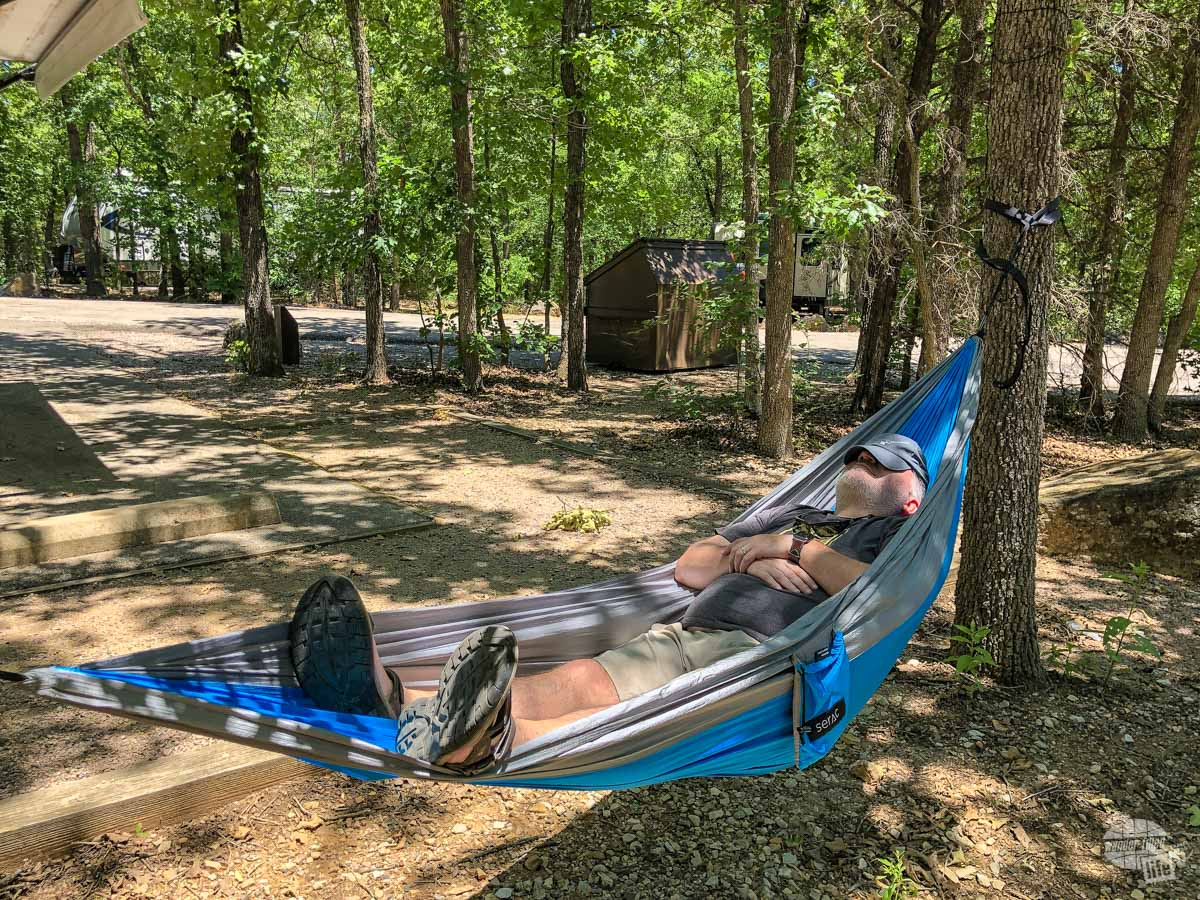 Grant taking a nap in the hammock we got from Cairn.