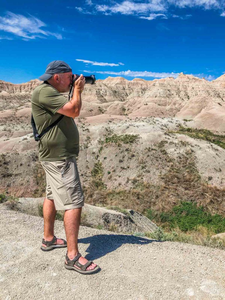 Grant taking a picture with the RX10 in Badlands National Park.