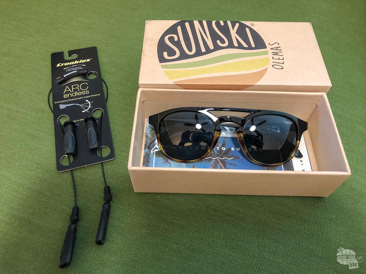 Sunglasses and Croakies we received in a Cairn box.