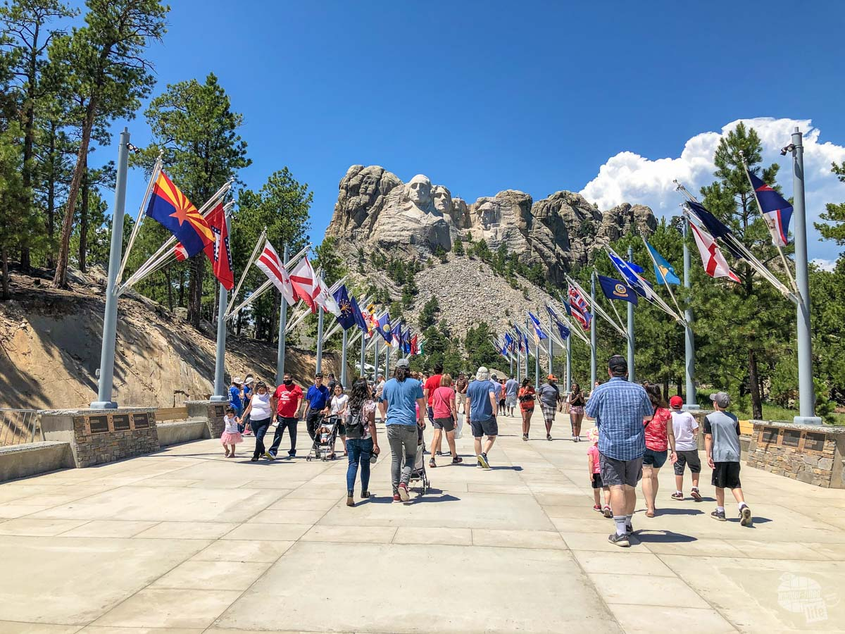 Strolling through the Avenue of Flags towards the sculpture is one of the many things to do at Mount Rushmore.