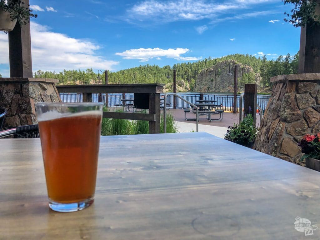 We loved grabbing a cold beer by the lake after a day of hiking.