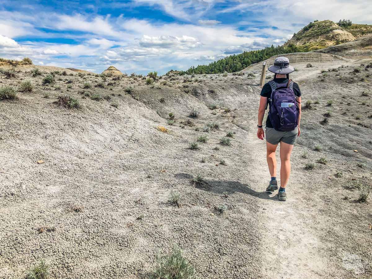 Bonnie hiking on Bentonite.