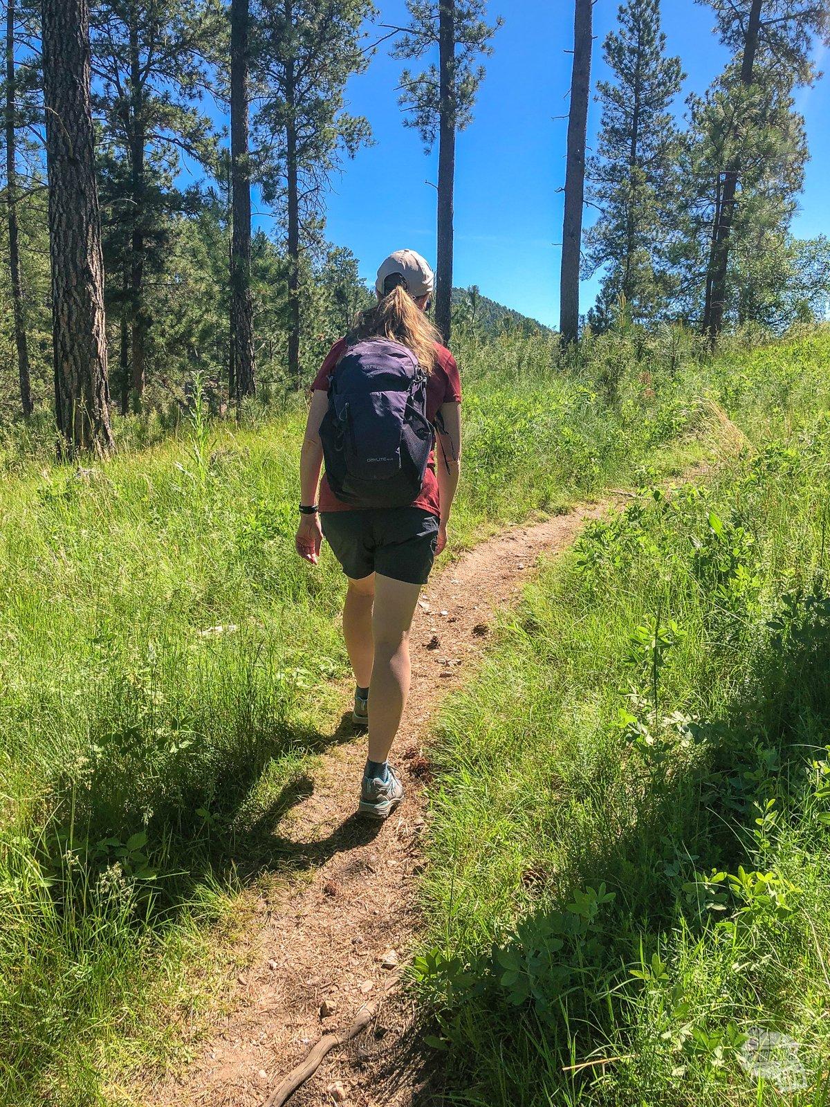 Bonnie hiking the Stockade Lake Trail.