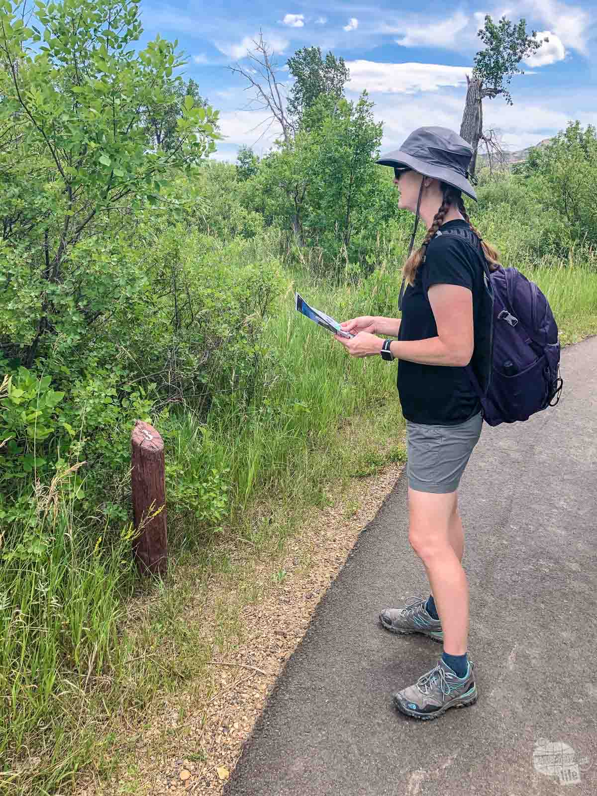 Bonnie checking out one of the exhibits on the Little Mo Trail using the guide.