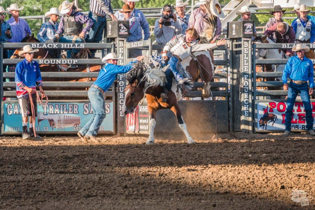 Bronc riding at the Black Hills Roundup, taken by the RX10.