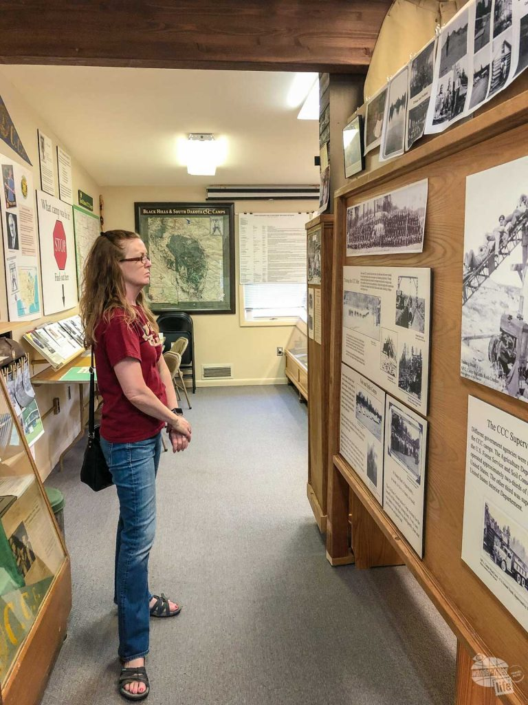 Bonnie checking out an exhibit at the CCC Museum in Hill City.