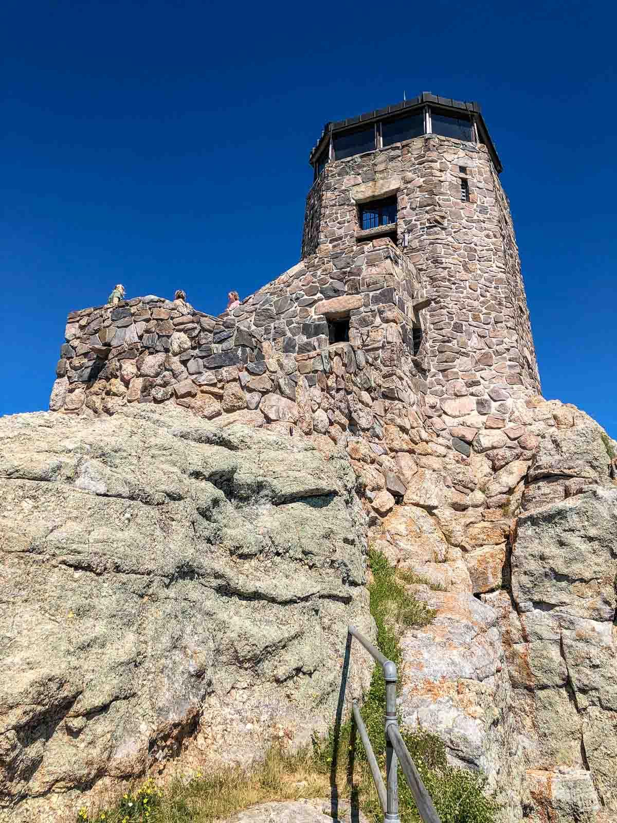 The fire lookout tower atop Black Elk Peak.