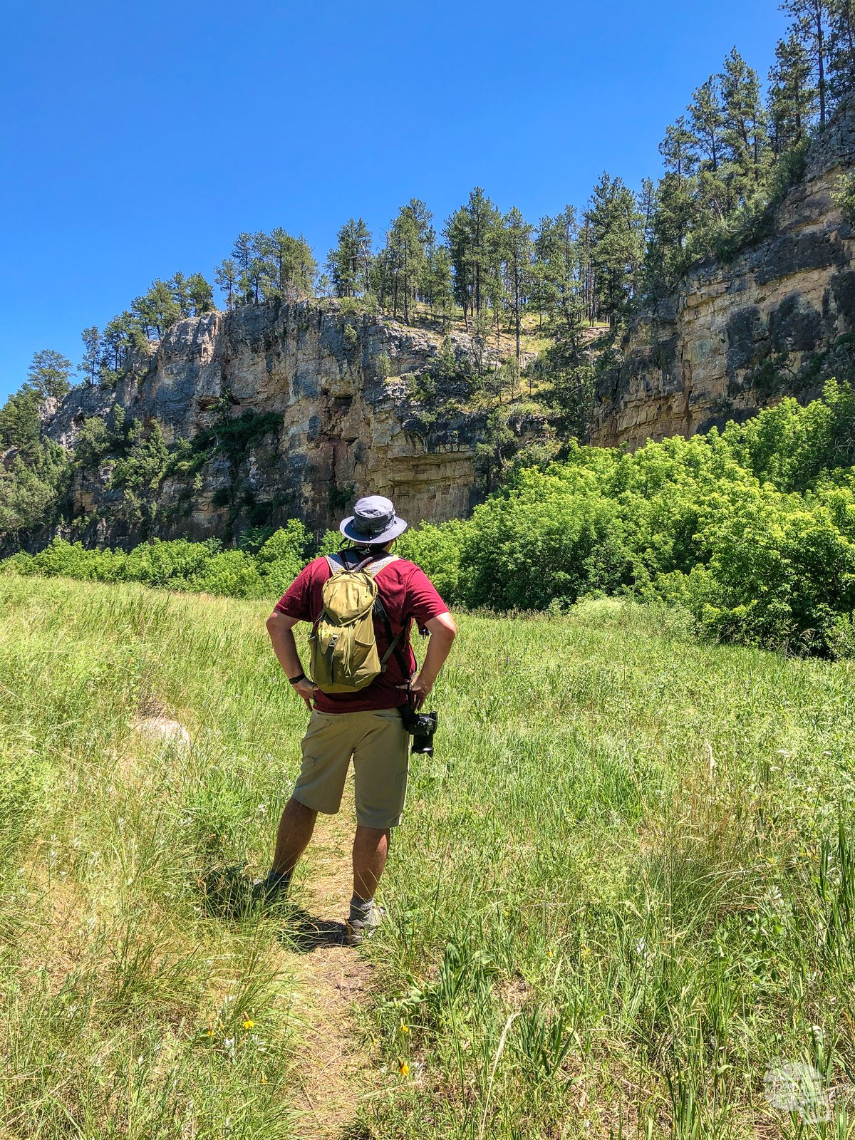 Grant stopping on the Cold Brook Canyon Trail in Wind Cave National Park to admire the canyon walls.