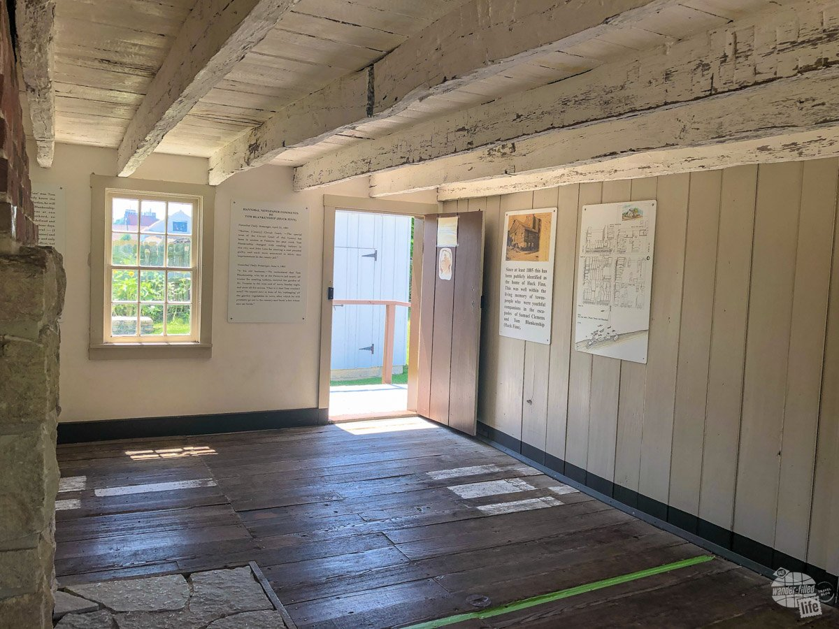 The Huck Finn House is not much more than a two room shack but it is faithfully reconstructed from the original house.