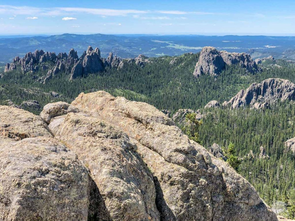The Needles and Little Devil's Tower, our destination later on the hike from the top of Black Elk Peak.