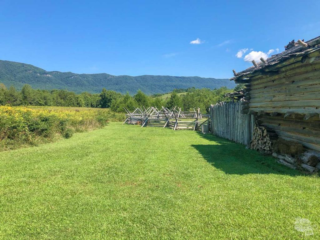 Looking at the Cumberland Mountains from the recreation of Martin's Station.