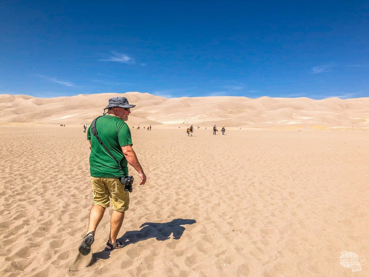 Grant walking out to the dune fields at Great Sand Dunes National Park.