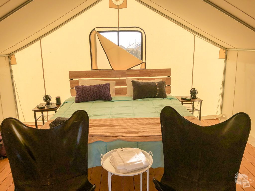 Our tent at the Rustic Rook glamping campground with our Thermarest pillows.