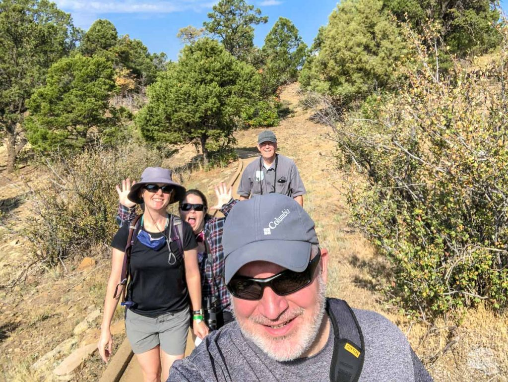 A selfie on the Mesa Village Trail with Bonnie's sister and father.