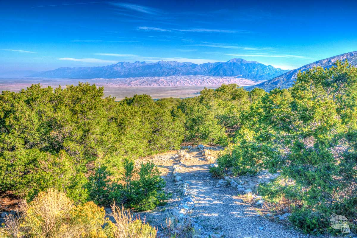 The Zapata Falls Trail has great views of Great Sand Dunes National Park.