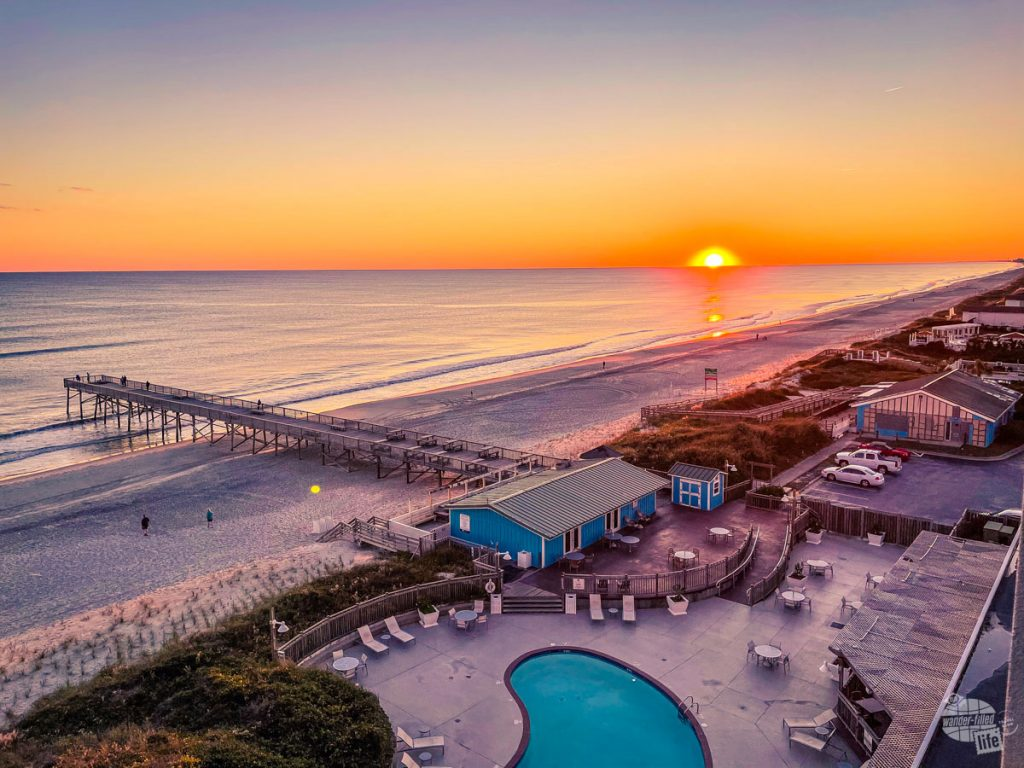 Sunset from our balcony at the DoubleTree at Atlantic Beach.