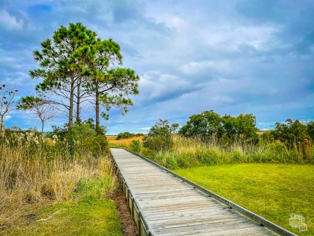 A short boardwalk by the Bodie Island Lighthouse in the Outer Banks.