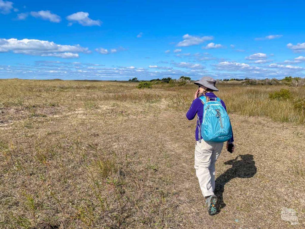 Bonnie hiking inland at Shackleford Banks.