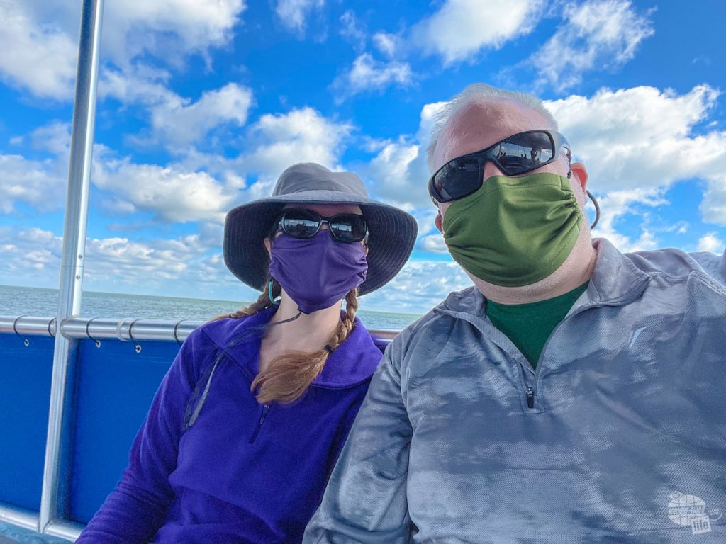 Masked up on the ferry to Shackleford Banks for COVID-19.